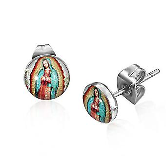 Urban Male Mary Icon Resin & Stainless Steel 7mm Stud Earrings