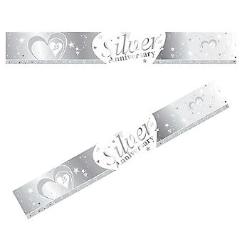 SILVER AND WHITE 25TH WEDDING SILVER ANNIVERSARY BANNER - 9FT