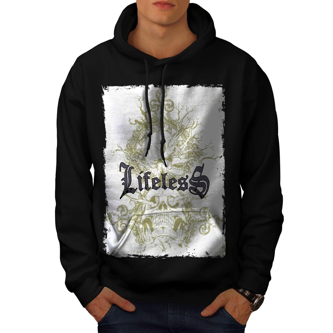 Lifeless Gothic Skull Men Black Hoodie | Wellcoda