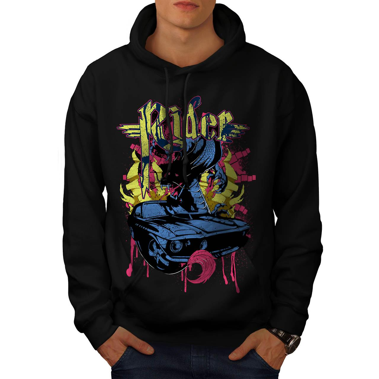 Dragon Motor Car Ride Automobile Men Black Hoodie | Wellcoda