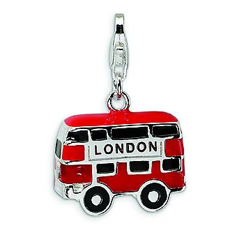 Argento smalto Double Decker Bus di Londra con astice Clasp fascino - misure 27x18mm