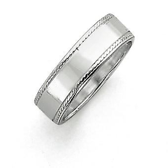 Sterling sølv 7mm Design kant Band Ring - ringstørrelse: 5-12