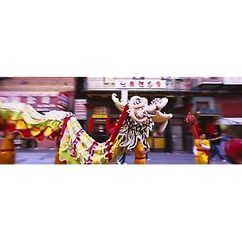 Group of people performing dragon dancing on a road Chinatown San Francisco  California USA Poster Print 2638ee6bfe