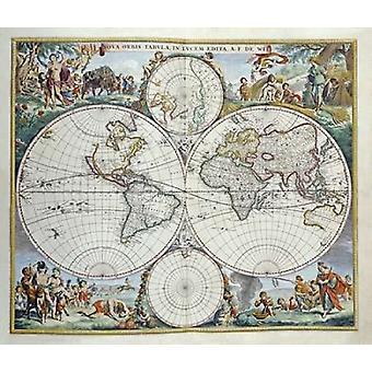 Karte von Welt Poster Print von Frederick De Wit