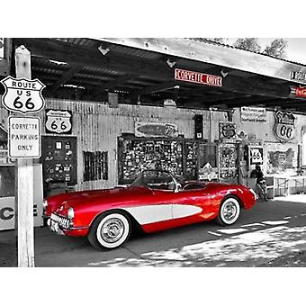Red Corvette Poster Print by Vadim Ratsenskiy