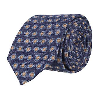 OTTO KERN narrow tie Navy Blue - floral