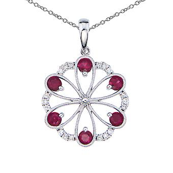 14k White Gold Ruby and Diamond Flower Pendant with 18
