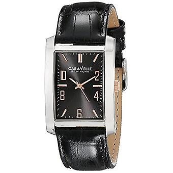 Caravelle New York Watches Mens Gunmetal Stainless Steel Leather Band Watch