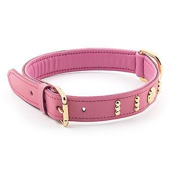 Patrimonio Collar de cuero Deluxe Bull Terrier inglés rosa X45-54 cm 25mm Sz 6