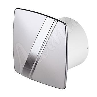 Ventilador de Extractor de pared de baño cocina satinado 100mm Awenta LINEA estilo con temporizador
