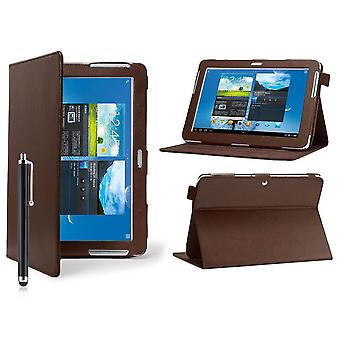 Angle Book Leather case cover for Samsung Galaxy Tab 2 7.0 P3100 + stylus pen - Brown