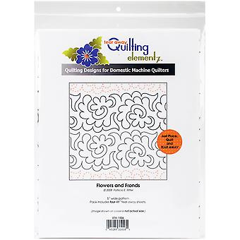 Quilting Creations Printed Tear Away Quilting Paper 4/Pkg-Flowers And Fronds 5