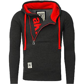 Akito Tanaka hooded sweater VERTICAL ZIP SWEAT charcoal/Red