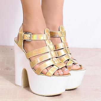Koi Couture Koi Couture Sq27 Gold Wedge Platforms