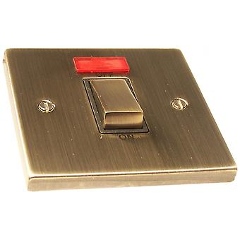 Causeway 1 Gang 45A DP Ingot Switch With Neon, Antqie Brass