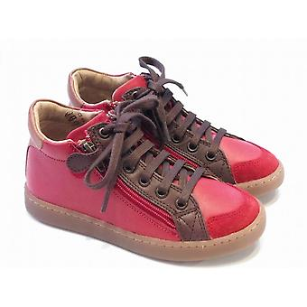 Shoo Pom Boys Red Leather High Tops With Zip & Laces