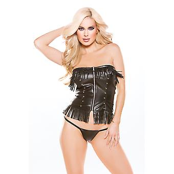Allure AL-11-3005 Faux Leather Corset Top with G-String