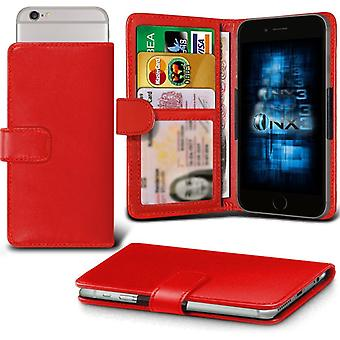 ONX3 ZTE Blade G Leather Universal Spring Clamp Wallet Case With Card Slot Holder and Banknotes Pocket-Red