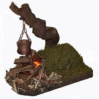 Camp fire fireplace Flacker light with boiler to natural root Nativity accessories