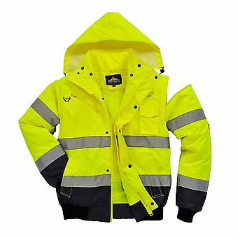 Portwest - HI-Vis Safety Workwear Contrast Bomber Jacket Yellow/Navy Small