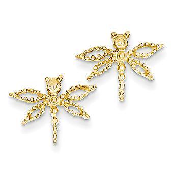 14 k geel gouden Dragonfly oorbellen - 1,6 gram