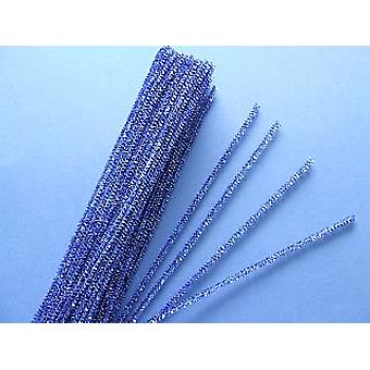 SALE -  100 Blue Tinsel Craft Pipe Cleaners | Chenille Stems