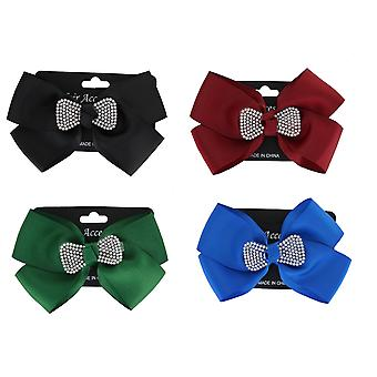 Girls Medium Hair Bow with Diamante Hair Clip Accessory