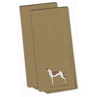 Greyhound Tan Embroidered Kitchen Towel Set of 2