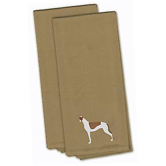 Galgo Tan bordado juego de toalla de cocina de 2