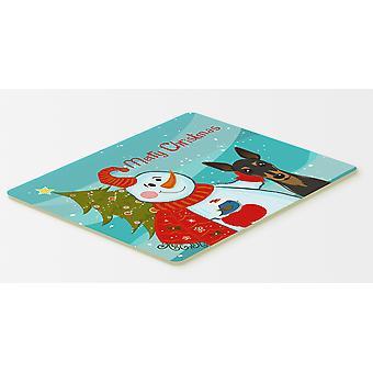 Carolines schatten BB1860CMT sneeuwpop met Min Pin keuken of Badmat 20 x 30