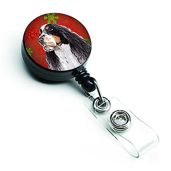 Springer Spaniel Red and Green Snowflakes Holiday Christmas Retractable Badge Re