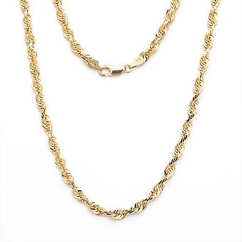 Floreo 10k Yellow Gold Solid Extra Light Diamond Cut Rope Chain Necklace, 3mm