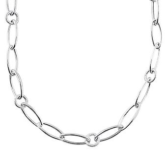 Sterling Silver 925 Womens Ladies Links Rings Charms Big Chain Necklace Choker Width 10mm