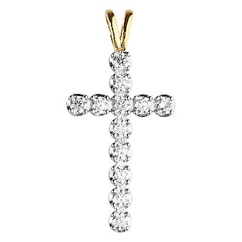 Premium Bling - 925 sterling silver tennis cross gold