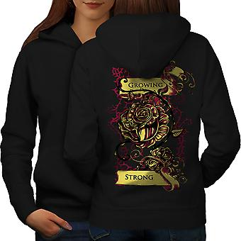 Growing Strong Slogan Women BlackHoodie Back | Wellcoda