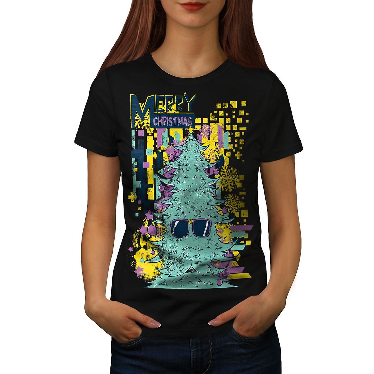 Merry Hipster Christmas Women Black T-shirt | Wellcoda