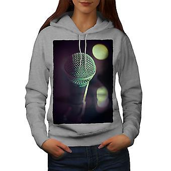 Micrófono la canción música arte mujeres GreyHoodie | Wellcoda