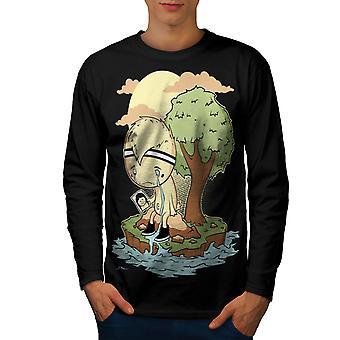 Solitaire triste qui pleure hommes noirLong Sleeve T-shirt   Wellcoda