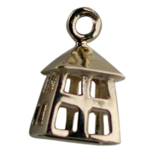 9ct Gold 11x9mm Watchman's Lantern Pendant or Charm