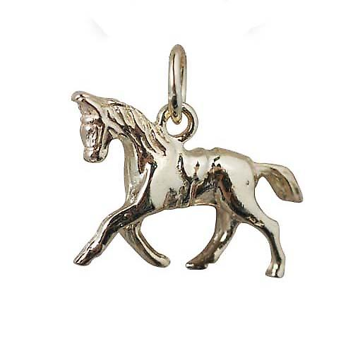 9ct Gold 13x19mm Saddled Cantering Horse Charm with a curb Chain 18 inches