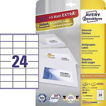 Avery-Zweckform 3490 Labels (A4) 70 x 36 mm Paper White 720 pc(s) Permanent All-purpose labels Inkjet, Laser, Copier