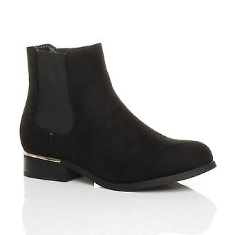 Ajvani womens low gold heel pull on stretch pixie chelsea ankle boots