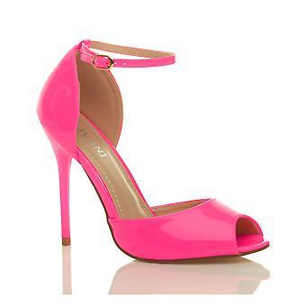 Ajvani womens sera festa a spillo tacco cinturino alla caviglia fibbia scarpe sandali peep toe Corte