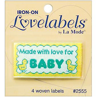 Iron On Lovelabels 4 Pkg Made With Love For Baby 2500 2555