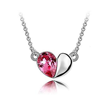 Pink Love Heart Crystal Silver Jewellery Pendant Necklace BG1413