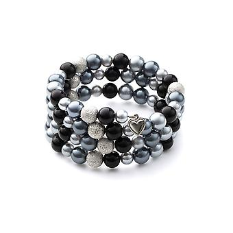Bracelet 3 rows in black pearls and Rhodium plate