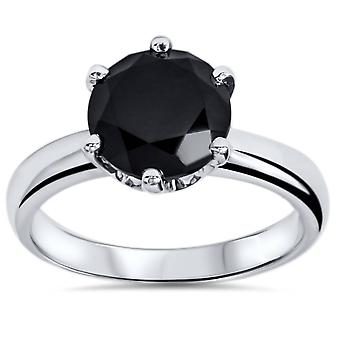 2 ct behandeld Black Diamond Solitaire verlovingsring 14K White Gold