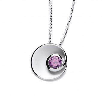 Cavendish French Silver and Amethyst CZ Swirl Pendant without Chain