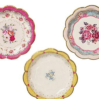 Alice in Wonderland Style Vintage Floral Paper Plates Pink / Blue Afternoon Tea x 12
