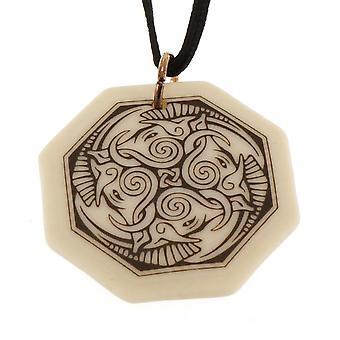 Handmade Celtic Cerridwen Goddess of Nature Octagon Shaped Porcelain Pendant